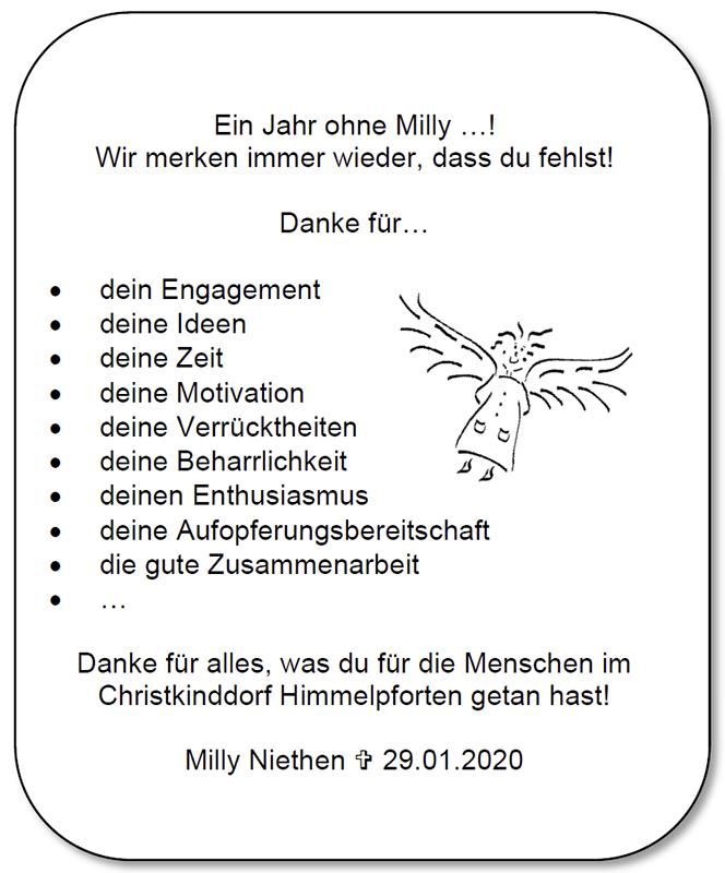 Nachruf Milly